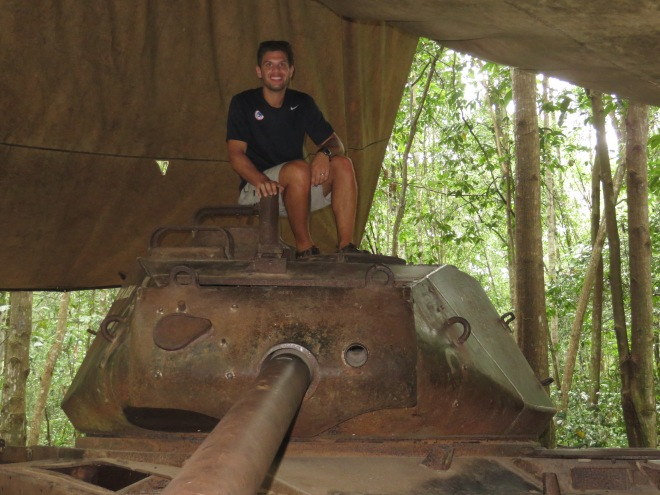 Rob sitting on top of the tank that was immobilized during the war