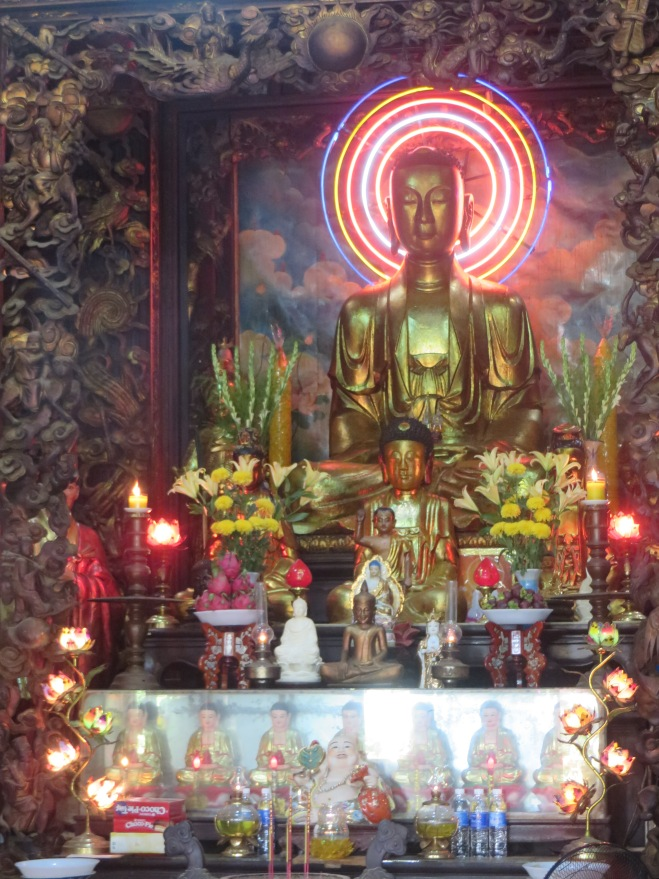 Inside the Buddhist Temple (I like his neon head glow)