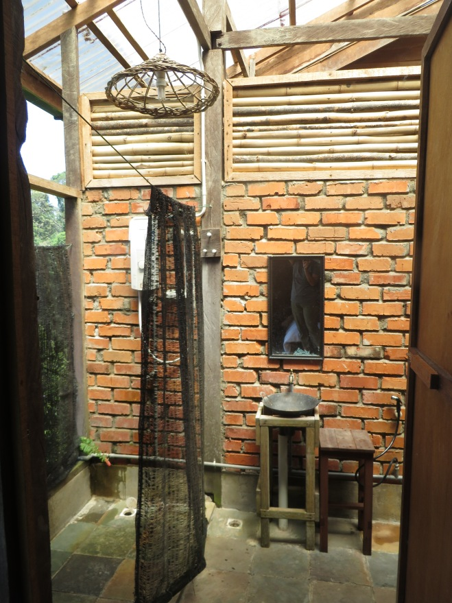 Our 'outdoors' bathroom that has a view of the rain forest!