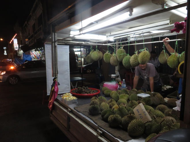 Durian cart--this stuff smells so bad it's banned on public transport!