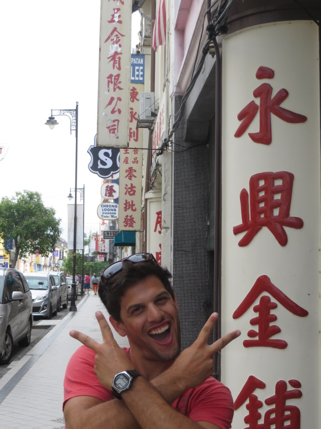 Walking through Chinatown where our hostel was