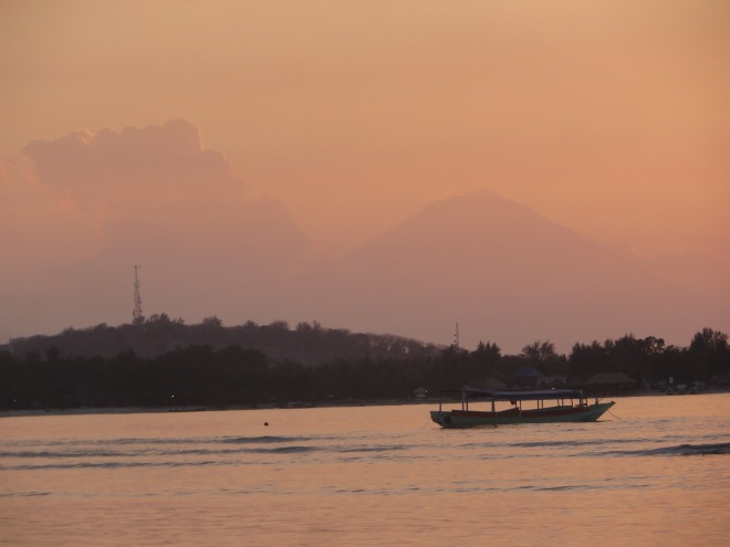 The volcano in the background