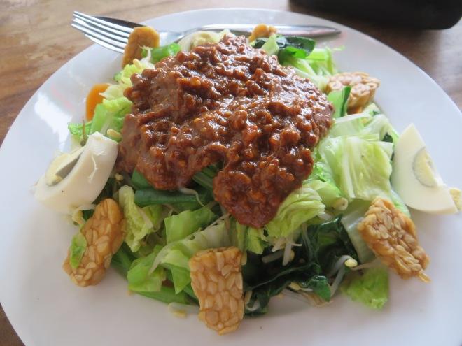 Gado Gado- steamed veggies in lemongrass with homemade peanut sauce on top!