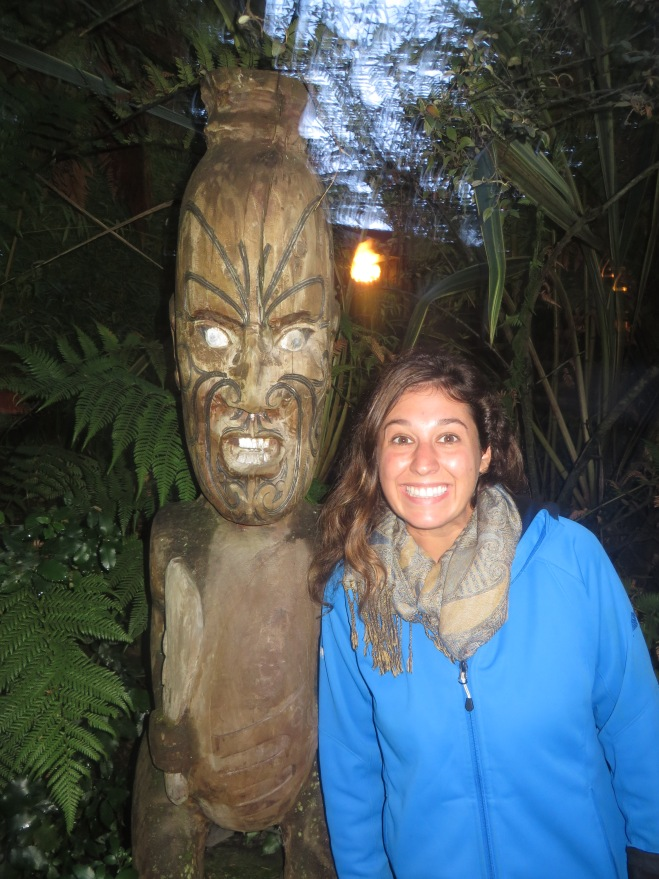 Kathleen and the Māori statue