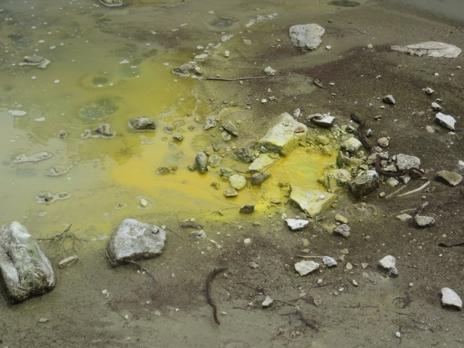 Sulfur coating the surface