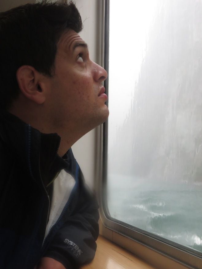 Rob admiring the waterfall from inside